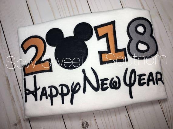 2018 happy new year disney embroidered shirt mickey mouse new year shirt year shirt silver black and gold new year disney shirt