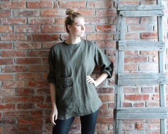 Artist Smock  Loose Linen Tunic  Khaki tunic   Oversized Tunic, Linen Tunic Dress, Women Linen Overalls  Medium Ready to ship