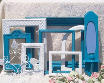 Romantic French Country Frames Dreamy Lagoon Blue Cottage White Large 9 pc