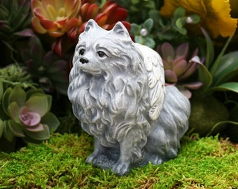 Pomeranian Angel Dog Statue - Dog Angel Memorial in Solid Concrete