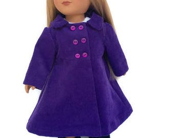18 Inch Doll Clothes, Purple Doll Coat, Corduroy Doll Coat, Winter Doll Clothes, Made to Order