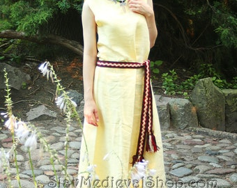 Linen sleeveless dress  inspired by early medieval historical gown, dress for the summer. 100% linen. Viking costume.