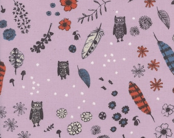 Cozy - Dream Owl in Lilac - Alexia Abegg - Cotton and Steel Fabrics - Fabric by the Half Yard