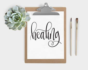 Hand Lettered Word of the Year - healing - INSTANT DOWNLOAD