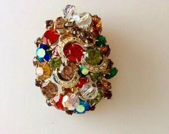 KRAMER Vintage Color Beaded Brooch