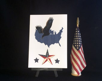 Patriotic greeting card, Veteran's Day card, Americana card, land of the free home of the brave card, birthday card, thank you