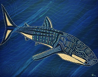 """Whale shark painting  original print 5"""" x 7"""" marine azure royal blue with whites and greys oceanic underwater dive art"""