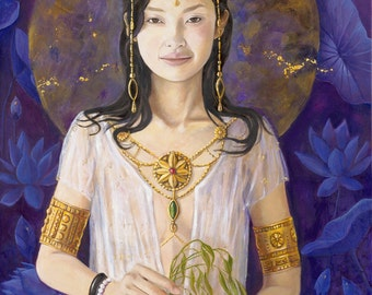 "Guan Yin Mother of Mercy and Compassion - 8""x12"" signed Limited edition on fine art paper"