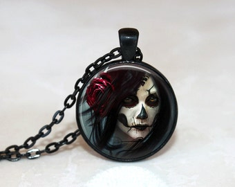 Goth Necklace Glass Tile Necklace Gothic Necklace Black Necklace Glass Tile Jewelry Black Jewelry Gothic Jewelry Rose Necklace Rose Jewelry