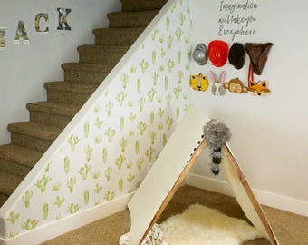 Removable Wallpaper, Peel and stick wallpaper, wallpaper, Cactus, Watercolour, Self adhesive wallpaper, kids wallpaper, cactus wallpaper
