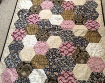 Hexagon Quilt, Twin Sized Blanket, Gift, Customizable