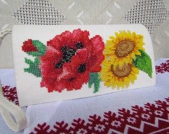 Bead Embroidered Handmade linen Clutch handbag purse Gift for her Purse