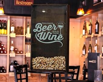 "24x45 Wine Cork Holder / Wall Decor Art - ""Jesus made Wine"" / Wine Quotes"