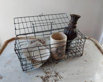 Vintage Lidded Wire Bin Basket
