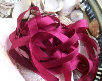 Vintage- Seam Binding -Cranberry Red-Ribbon-Silky