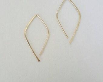 Gold Pull Through Earrings, Small Earrings, Geometric Earrings, Hoop Earrings, Simple Gold Earrings, Threader Earrings