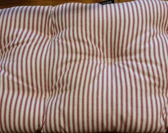 Red and ivory ticking stripe, Tufted bench cushion, stripeseat cushion other colors