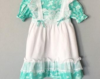 Vintage Toddler Girls Mint & White Dress