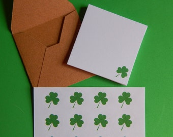 Mini St. Patrick's Day Note Card,  Notes from the Leprechaun, Handmade Mini Shamrock cards, Gift Enclosures, Shamrock gift tags,