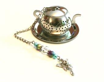 Fairy Tea Infuser, Charm, Purple & Turquoise Beads, Beaded Teapot Infuser, Mad Hatter Tea Party,  High Tea, Tea Gift, Mesh Tea Ball