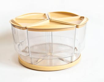 """Vintage Rubbermaid Kitchen Canister Set with Lazy Susan, """"Peek-a-Bin"""" Plastic 1970s Containers Carousel, Crafts Hobby Storage"""