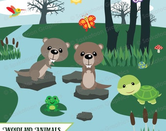 Cute Woodland Otter Clipart - Instant Download File - Digital Graphics - Crafts, Web Design - Commercial & Personal Use - #A016