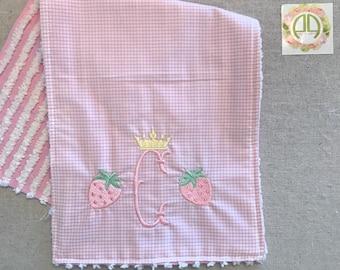 Girls chenille burp cloth for ZTA baby