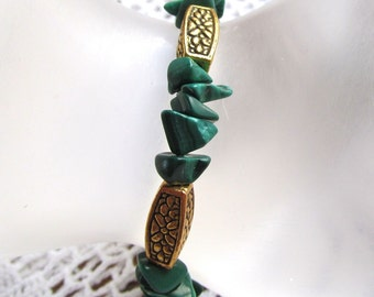 Natural Malachite Chip Bracelet, 8 Inch Length with Gold-plated Pewter Spacers