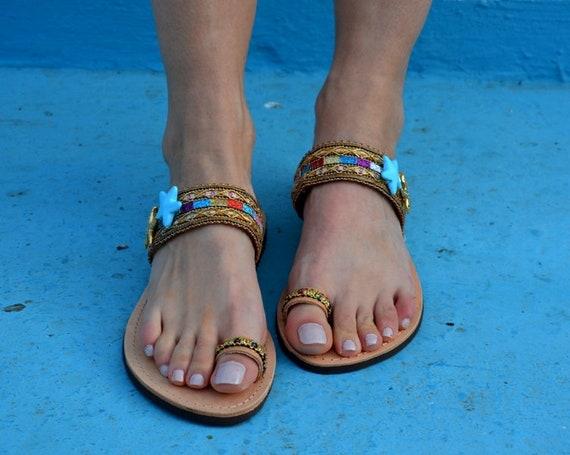 Sandals ''Starlight'' Summer Sandals Toe Slides Leather Sandals ring Sandals Sandals Boho Greek wZRxXg