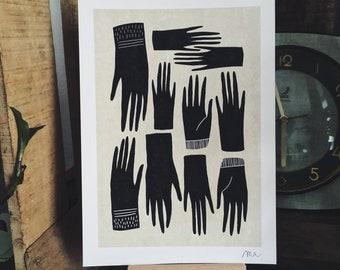 Ten hands / Fine art Print / Poster / Hands / Illustration