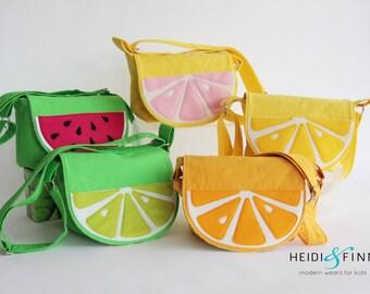 NEW fruit slice cossbody messenger bag purse lemon lime orange