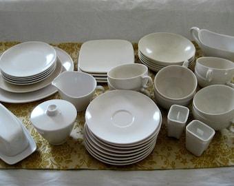 Melmac White Dinnerware Assortment of 38 Pieces Melamine Plastic Oneida Deluxe Vintage Kitchen 1950u0027s & Melmac dishes | Etsy