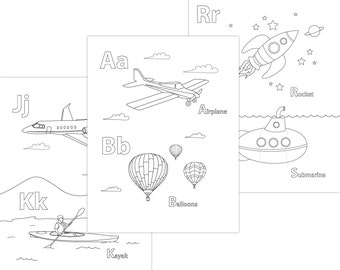 Printable Alphabet Coloring Pages / Transportation Alphabet / Coloring Pages for Kids / DIY / Download Coloring Pages