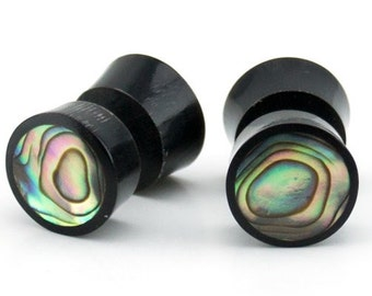 Black Horn Fake Gauges Plugs With Abalone Shell Inlay