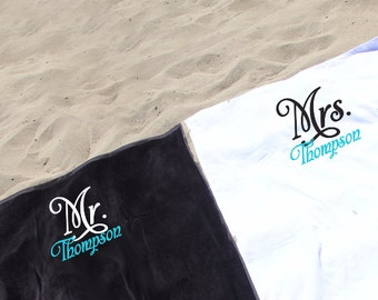 Set of 2 Monogrammed Mr. & Mrs. Beach Towels, Personalized Beach Towel Set, Beach towels, bride and groom engagement gift or honeymoon gift.