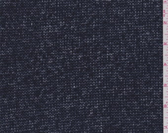 Navy Wool Blend Sweater Knit, Fabric By The Yard