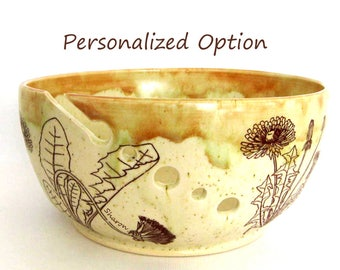 Knitting Organizer -Yarn Bowl -  Dandelions - Can be Personalized - Gift for Her - Dandelions - Hand Thrown Ceramic Stoneware Pottery