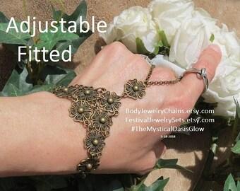 Sale Bohemian Wedding Jewelry Bracelet Ring, hand flower slave bracelet, chain ring bracelet, hand chain, bracelet floral boho hand chain ri