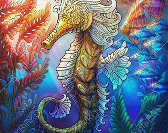 Coloring Pages for adults. Ocean World. Seahorse. Underwater sea colouring pages. Animal coloring book. Instant Download Print