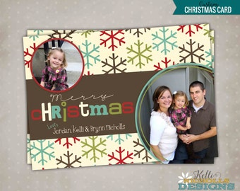 Snowflake Photo Christmas Card, Personalized Snow Flake Picture Holiday Greeting Card, Printable #C101
