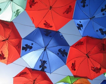 Red Blue Pattern Umbrellas A4 Art Image Print