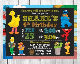 Sesame Street Invitation, Sesame Street Birthday, Sesame Street Invites, Sesame Street Party, Sesame Street Printable, Custom, Evite