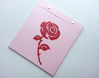 Race Bib Holder - Rose for a Runner - Hand-bound Book for Running bibs - Light Pink and Red