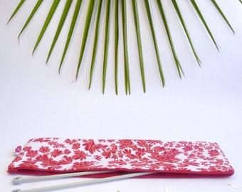 Étui pour aiguilles à tricoter, motif floral corail et rrouge imprimé à la main
