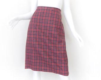 "Vintage Plaid Wool Pencil Skirt -  Ladylike Pink and Blue Plaid High Waist Knee Length Women's Skirt - Waist 29"""