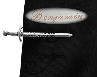 Personalized name ancient jian vintage fashion tie clip