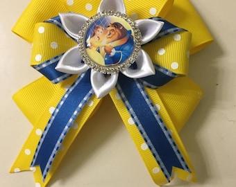 Disney Inspired Beauty and the Beast Hair bow - Handmade