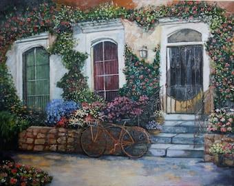Flowering street Original Painting Oil