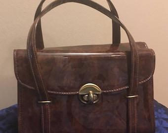 1960s Cara Tortoise-Shell Patent Leather Handbag