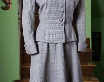 Vintage 1940s / 1950s Plaid Gabardine Wool Womens Suit by Moordale Junior Suits